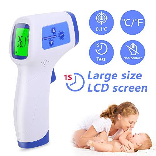 AGM Thermomètre Frontal, Thermomètre Numérique Infrarouge Sans Contac avec Affichage à LCD, Thermomètre Médical...