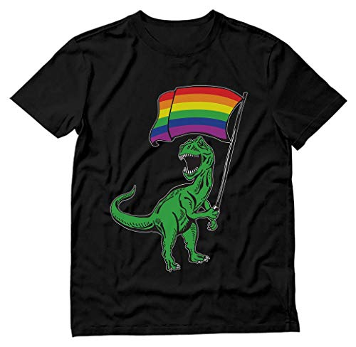 T-Rex Rawr Pride Parade Gay & Lesbian Rainbow Flag T-Shirt Medium Black