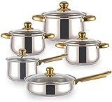 TYX-SS Kitchen Stock Pot Pan Set Cookware Set 12-Piece Stainless Steel Pot Saucepan Casserole Casserole pan with Glass lid