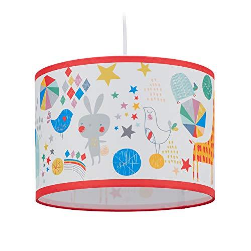 relaxdays 10028038 Lampe Garçons et Filles Chambre d'enfants, Animaux, E27, Lampadaire Hxd 126 x 30 cm, coloré