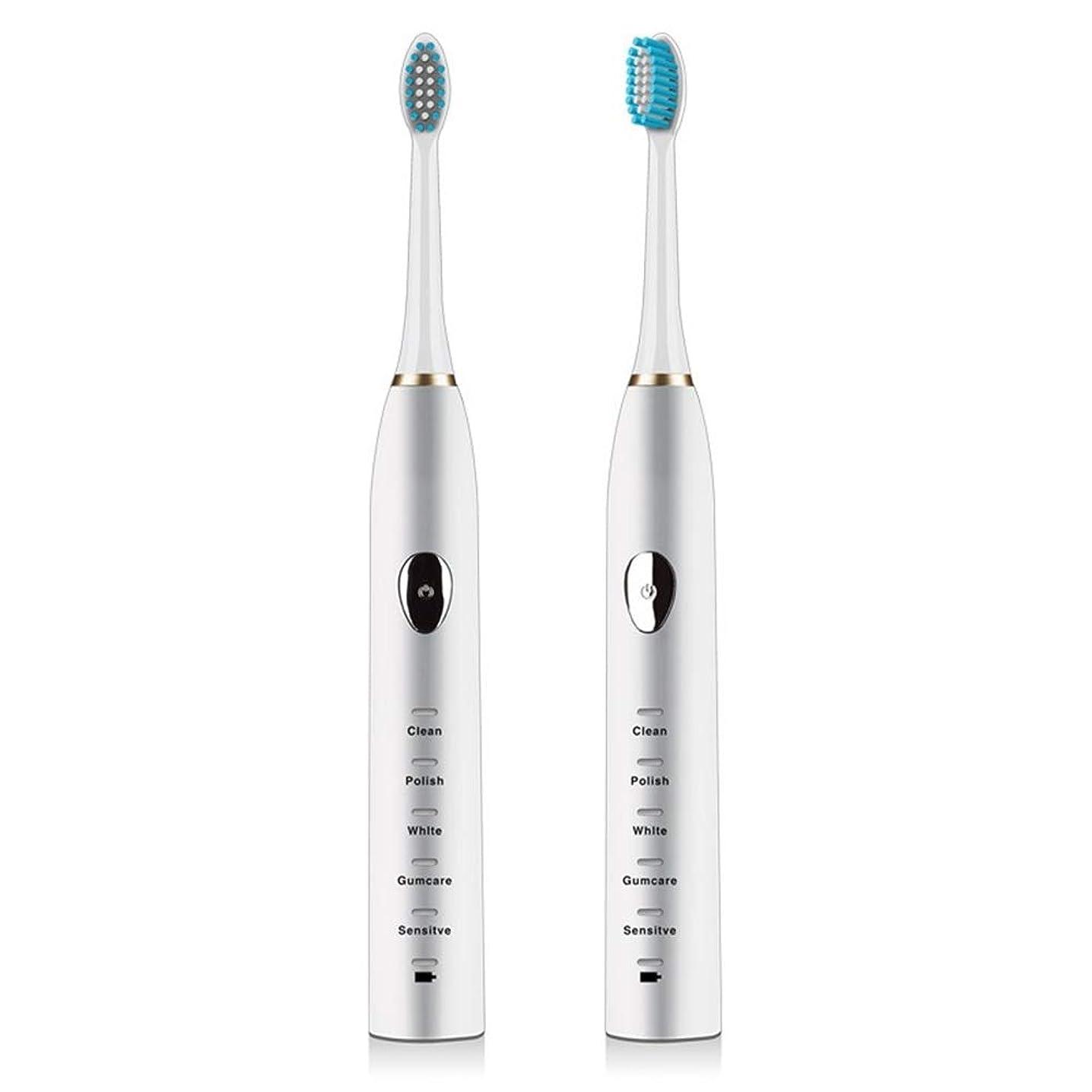 LKJASDHL 防水電動歯ブラシ磁気サスペンション5速超音波歯ブラシ柔らかい髪USB充電式大人 (色 : White)