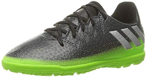 adidas Performance Kids' Messi 16.3 Turf Soccer Shoe (Little Kid/Big Kid), Dark Grey/Metallic Silver/Neon Green, 5 M US Big Kid