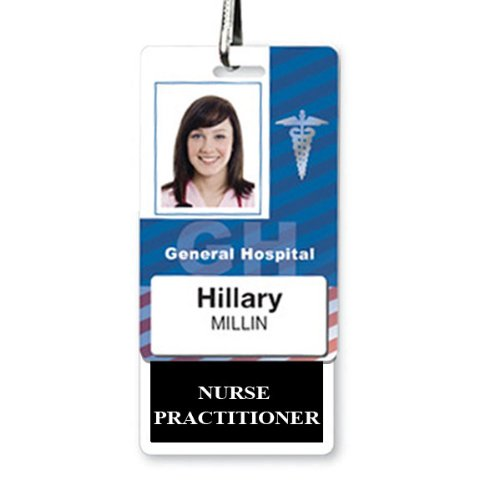 Nurse Practitioner Vertical Badge Buddy for NP with Black Border - Heavy Duty and Spill/Tear Resistant by Specialist ID