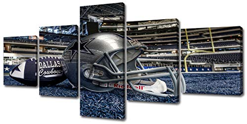 DJSYLIFE Inspirational Sports Wall Art 5 Piece Football Poster Ornament Painting on Canvas Prints Home Decor for Sports Room Bedroom Living Room Decorations Ready to Hang
