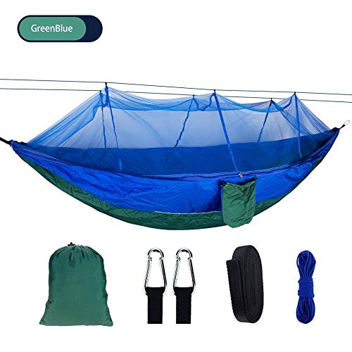 BGPOM Hammock Portable Camping Hammock With Mosquito Net Outdoor Hiking Tent Swing Hanging Garden Double Hang Bed-Greenblue