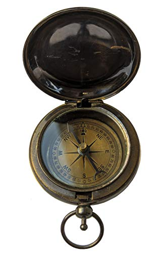 IMPERIAL CHUNKS Brass Antique Push Open/Push Button Compass Pocket Compass Royal Navy for Hiking Best Gift Idea