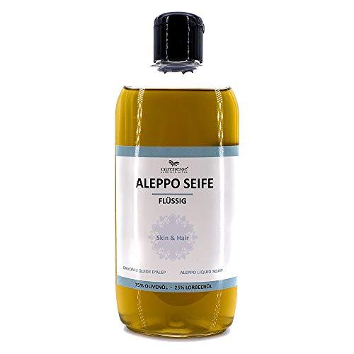 Savon d'Alep liquide 250 ml avec distributeur, 75% huile d'olive + 25% huile de laurier, Gel Douche shampooing Savon liquide, Cosmétique naturel, Produit Naturel sans parfum, végétalien