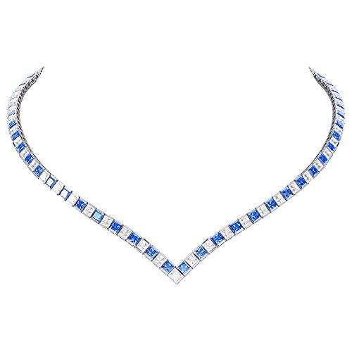 Prizess-Schliff Saphir und Diamant Damen-Halskette Collier - 43cm - Silber - Weißgold