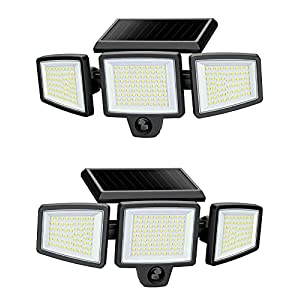 Outdoor Solar Powered Flood Lights with Movement Detection, 210 LED 2500LM 6500K, IP65 All-Weather Resistance, 3 Adjustable Heads, 270° Wide Angle, Light for Garage Patio Porch Garden Yard - 2 Pcs
