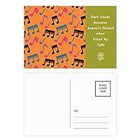 カラフルな音楽のメモオレンジ 詩のポストカードセットサンクスカード郵送側20個