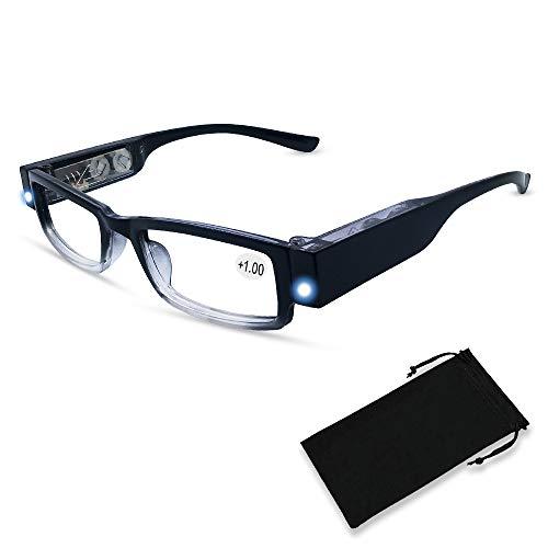 Reading Glasses with Light Magnifying Glasses with Light Led Magnifier Eyeglasses Nighttime Reader Frame Eyewear
