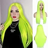 QD-Udreamy Neon Green Silky Straight Lace Front Wigs Natural Looking Wig Replacement Wig Heat Resistant Synthetic Hair Wigs for Women 24''