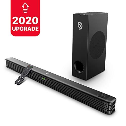 Barra de Sonido 2.1 Canales para TV, BOMAKER 150W, 120 dB, con Subwoofer Inalámbrico de Tamaño Extra, Soporta Conexiones Óptico/RCA/Coaxiales/Bluetooth, para Cine en Casa, Njord I [2020 Actualizado]