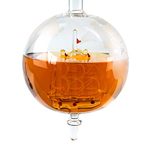 Whisiskey® Whiskey Karaffe - Globus - Whisky Karaffe Set - 900 ml - Geschenk für Männer und Frauen - Inkl. 9 Whisky-Steine und Schenktülle - 3