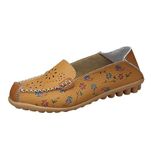 URIBAKY - Zapatillas de piel huecas con estampado de mocasines informales, zapatillas de running en carretera, exterior, running, fitness, transpirables, Amarillo (amarillo), 40 EU