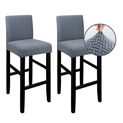 Qishare 2er-Pack Bar Stuhlhussen Schonbezüge mit Rückenlehne, Stretch Stuhlbezug Schonbezug Stuhlschutz für die Küche Barhocker Zähler Überzug für Barstuhl(grau)