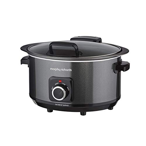 Morphy Richards 460020 Sear, Stew and Stir 3.5L Slow Cooker with Hinged Lid, 163 W, 3.5 liters, Black