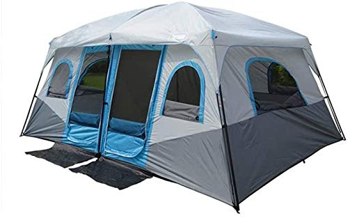 XLBHSH Panorama-Oberlicht Zweizimmer-Doppeltürzelt Großes Campingzelt Großes Familienzelt im Freien 8-10 Personen Partyzelt Wasserdichtes Zelt Zelt