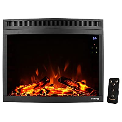 e-Flame USA Edmonton 28-inch Curved LED Electric Fireplace Stove Insert with Remote - 3-D Log and Fire Effect