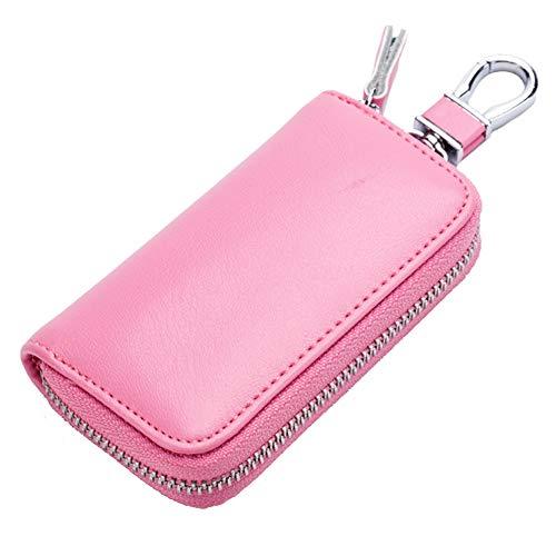 ZqiroLt Schlüsseltasche, multifunktionale, reißverschluss echtes Leder Auto Aufbewahrungstasche case Abdeckung Pink