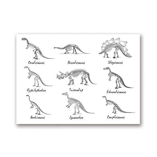 N/A Cuadro De Dinosaurios para Niños, Impresión Artística Y Póster De Especies De Dinosaurios, Pintura En Lienzo De Paleontología para Decoración De Habitación De Niños