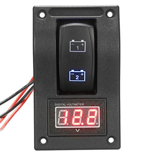 CAIZHIXIANG Interruptor de 12V-24V Dual LED de la batería de Prueba Rocker Panel + Medidor de Tensión LED Rojo del voltímetro Gauge for el Barco