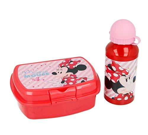 Theonoi 2 Teile Kinder Frühstück Set – wählbar: Frozen – Minnie – 1 x Brotdose Sandwichbox UND 1 x Aluminiumflasche/Trinkflasche Aluminium für Mädchen (Minnie Mouse)