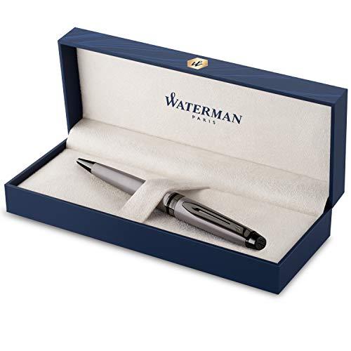 Waterman Expert Kugelschreiber | Silberfarbene Metallic-Lackierung mit Ruthenium-Zierteilen | Mittlere Spitze | Blaue Tinte | In Geschenkbox