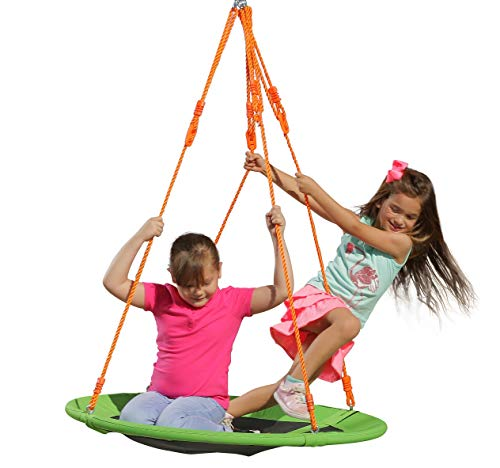 Kids Outdoor Spinner Tree Swing - 40'' Large Saucer Round in Green Durable Steel Frame - Adjustable Ropes - Easy to Install - Backyard Fun for (300 lbs Limit)