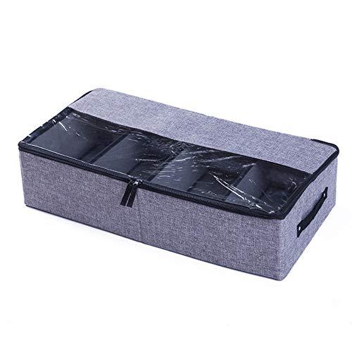 JUNSHUO Organizador de Zapatos Caja, Multifunción Plegable de Almacenaje de Zapatos para Debajo de la Cama con Cubierta de PVC Transparente y Divisores de Magic Cloth Extraíbles (Gris Oscuro)
