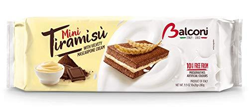 Balconi Mini Tiramisù Kuchen Biskuit mit Schokolade mit samtiger Mascarpone creme ( 10 x 30g ) 300g Italienische Köstlichkeiten