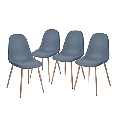 Green Forest Dining Side Chairs Strong Metal Legs Fabric Cushion Seat and Back for Dining Room Chairs Set of 4,Blue