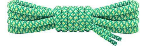Ladeheid Qualitäts-Schnürsenkel, Rundsenkel für Arbeitsschuhe und Trekkingschuhe aus 100% Polyester, ø 5 mm, 27 Farben, Längen 70-220 cm (Meer/Gelb, 160 cm/ø 5 mm)