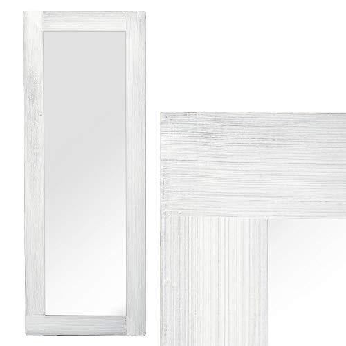 LEBENSwohnART Spiegel Linda 160x60cm White Washed Blauglockenbaum-Holz massiv Wandspiegel