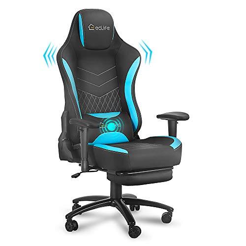 eclife Gaming Chair PC Ergonomic Racing Office Chair Massage PU Leather Recliner Computer Desk Chair W/Lumbar Support Headrest Armrest Rolling Swivel Task Chair (Blue+Footrest)