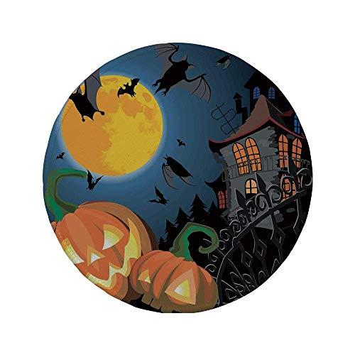 Rutschfeste Gummi-Runde Mauspad Halloween-Dekorationen Gothic Halloween Haunted House Party-Thema Dekor Trick or Treat für Kinder Multi 7,9 'x 7,9' x3MM