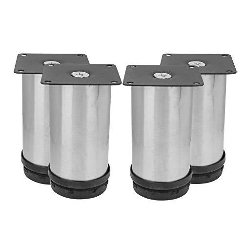 4Pcs Cocina de acero inoxidable Pies ajustables Pata redonda para muebles 50 x 100 mm Mueble para muebles Patas de metal para sofá Mesa de té
