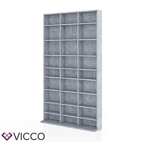 Vicco CD DVD Blu-ray Regal CD Ständer - Platz für 1080 CDs oder 504 DVDs in fünf Farben (Beton)