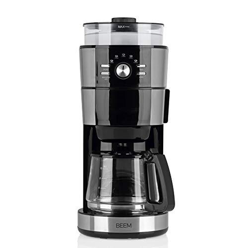 BEEM FRESH-AROMA-INTENSE Filterkaffeemaschine mit Mahlwerk - Glas | Edelstahl | 1,25 l Glaskanne | Abnehmbarer Wassertank | 120 g Bohnenbehälter