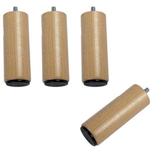 Wood Selection - Juego de 4 patas de cama (madera maciza, 10 cm, barnizada)