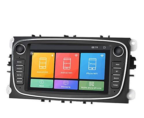 WEUN Sat Nav 7 Pulgadas Android es Adecuado para el Sistema de navegación GPS del automóvil Ford Focus, Sistema Sat Sistema Sistema DE Cabeza ESTÉREO Radio Multimedia Velocidad