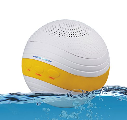 Floating Pool Speaker with Bluetooth IPX7 Waterproof Rechargeable LED Light For Bathroom Beach and Home