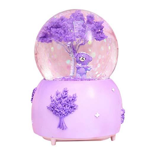 Bola de cristal con soporte Lindas adornos de mesa de dibujos animados regalo volando nieve luces giratoria luces caja de música violín lavanda oso bola de cristal Bola de cristal con soporte de bruje
