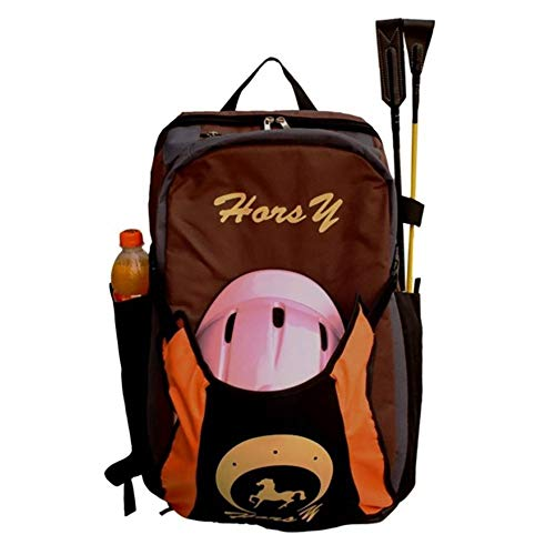 qxj Professionelle Stiefeltasche Reitstiefeltasche Große Tragetasche Kombitasche Reitertasche Mit Helmfache,Brown-Children\'sEdition