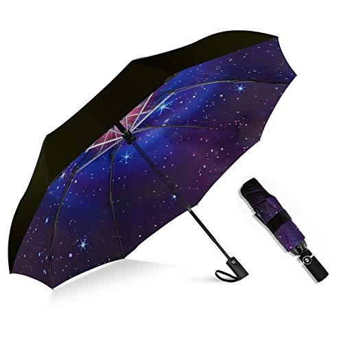 MRTLLOA Inverted Umbrellas Reverse Folding Umbrella Windproof UV Protection Compact Umbrella for Travel Outdoor Daily Use (Galaxy Umbrella)