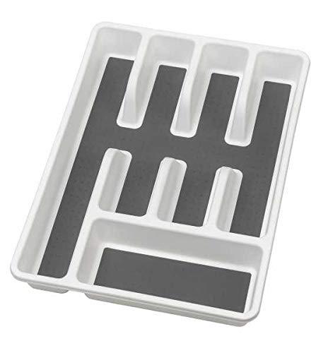 WENKO Besteckkasten Anti-Rutsch 5 Fächer - Besteckeinsatz für Schubladen, Polypropylen, 26.5 x 5 x 36.5 cm, Weiß