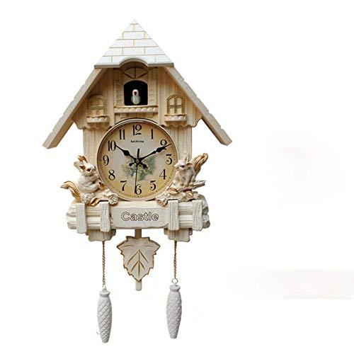 WANZSC Reloj de pared con música de cuco de 20 pulgadas para niños, sala de estar, dormitorio, hora de hablar por hora, reloj de pared, diseño moderno (A)