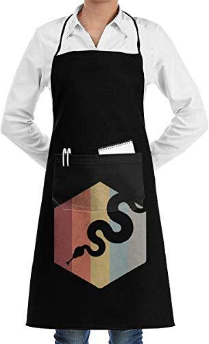 Drempad Herren Damen Lätzchen Schürze Retro Distressed Pet Snake Komfortable Polyester BBQ Schürze für Frauen