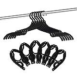 24 Pcs Travel Hangers - Portable Folding Clothes Hangers Travel Accessories Foldable Clothes Drying Rack for Trave (Black)