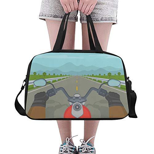 LMFshop Grand fourre-Tout Cartoon Green Valley Mountain Road Sun Yoga Gym Totes Fitness Sacs à Main Sacs polochons Pochette à Chaussures pour Bagages de Sport Womens Outdoor Travel Gym Bag